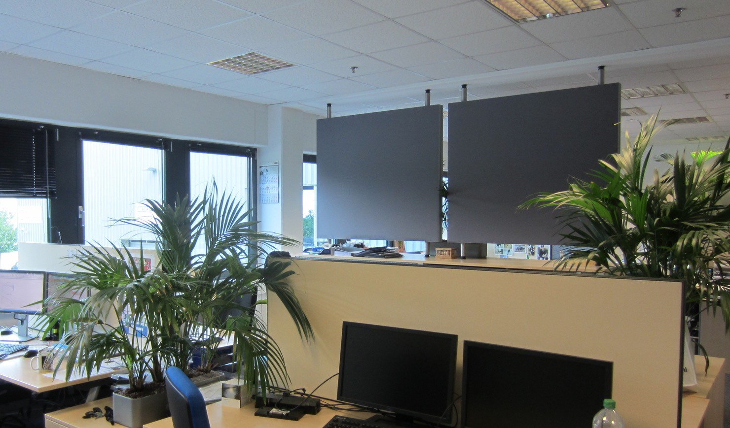 Hangende akoestische panelen in kantoor